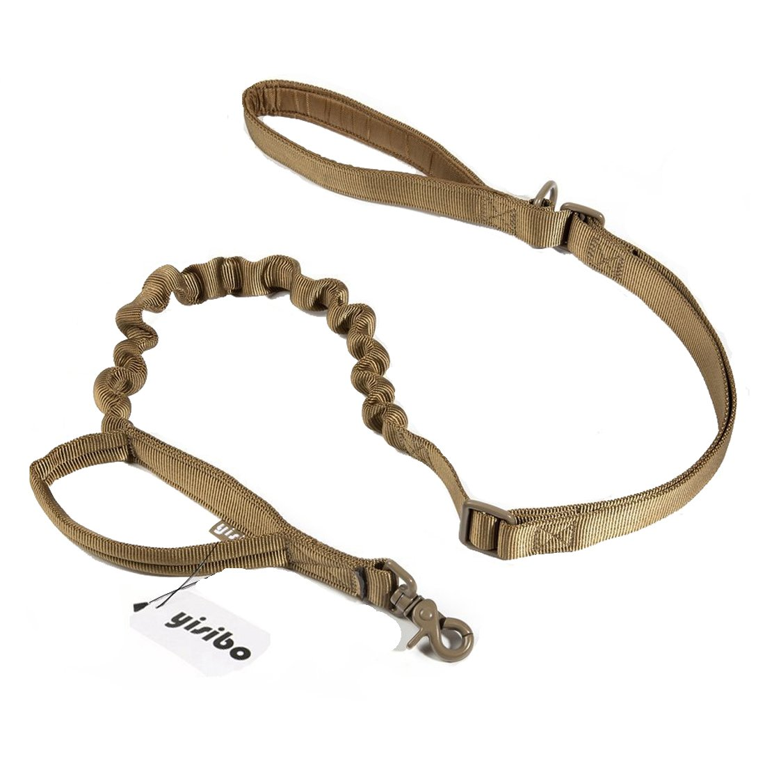 yisibo Training Dog Bungee Leash Tactical Nylon Heavy Duty Dog Leash with Control Handle Quick Release Leads Rope for Medium Large Dogs (Coyote Brown-Enhanced)