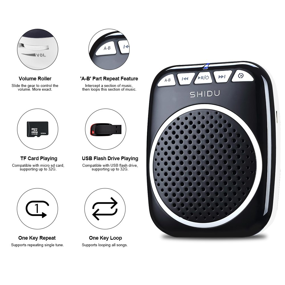 Zoweetek SHIDU S308 Portable Rechargeable Mini Voice Amplifier With Wired Microphone and Waistband for Teachers, Tour Guides, Coacher, Singer, Training and Presentation (Black)