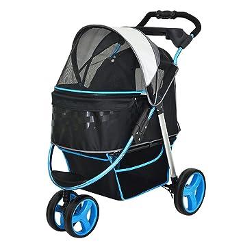 PLDDY Cochecito para Mascotas, Tres Ruedas, Transpirable, Carro para Perros, Plegable, Coche para Gatos, Artículos para Mascotas (Color : Azul): Amazon.es: ...