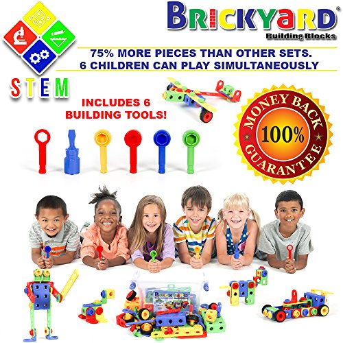 163 Piece STEM Toys Kit   Educational Construction Engineering Building Blocks Learning Set for Ages 3, 4, 5, 6, 7 Year Old Boys & Girls by Brickyard   Best Kids Toy   Creative Games & Fun Activities