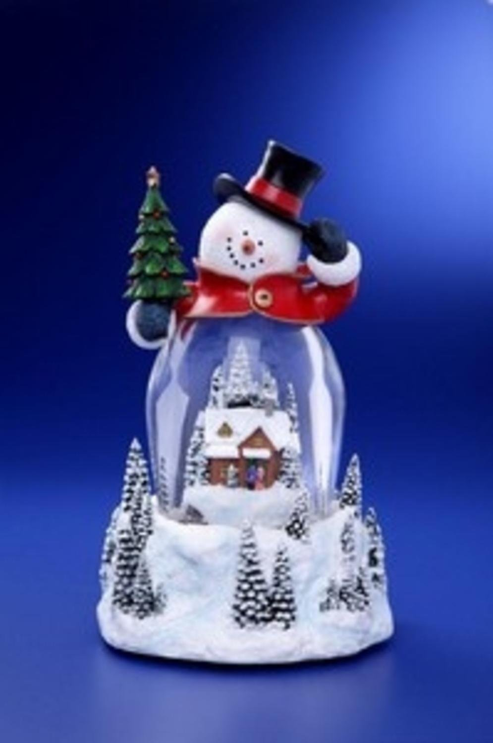 Pack of 2 Icy Crystal Illuminated Musical Christmas Snowman Snow Globe 9''
