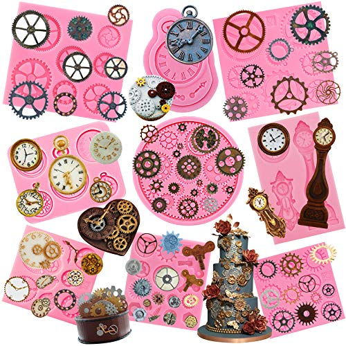 Funshowcase Steampunk Style Gear Cog, Watch Wheel and Clock Silicone Molds Set 9-Pack ()