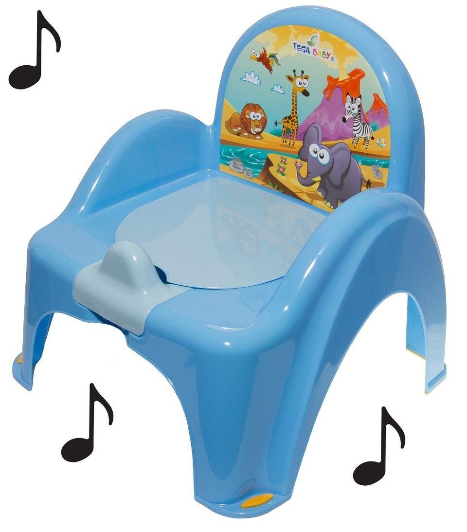 Pot de toilette musical pour bébé enfant fauteuil chaise avec thème animaux Safari Bleu Tega Baby