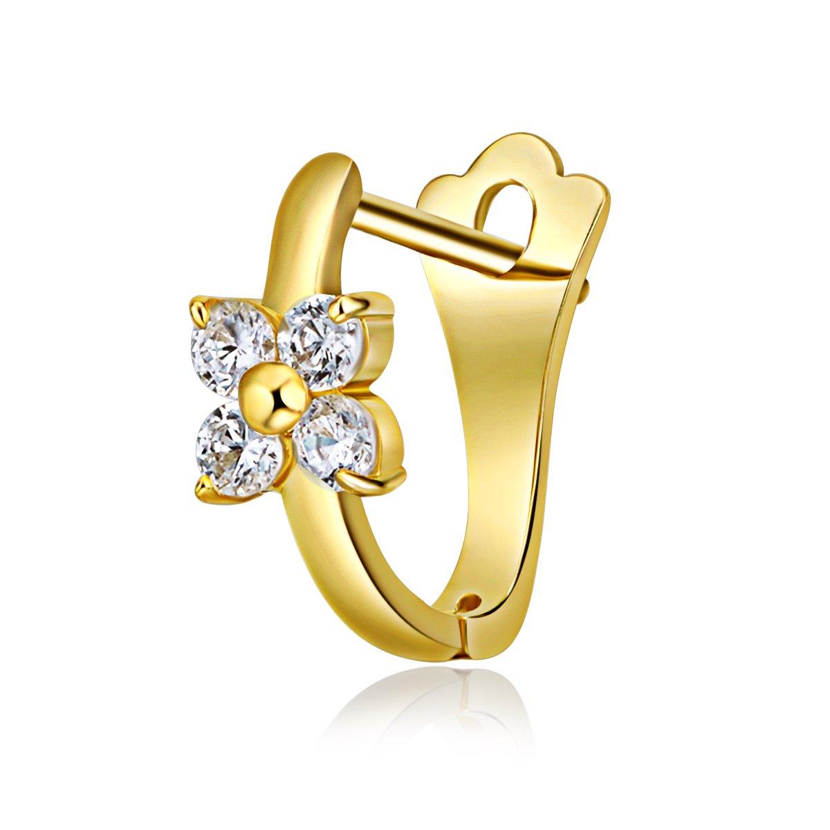 14k Yellow Gold Flower CZ Huggie Earrings 12 x 13 mm