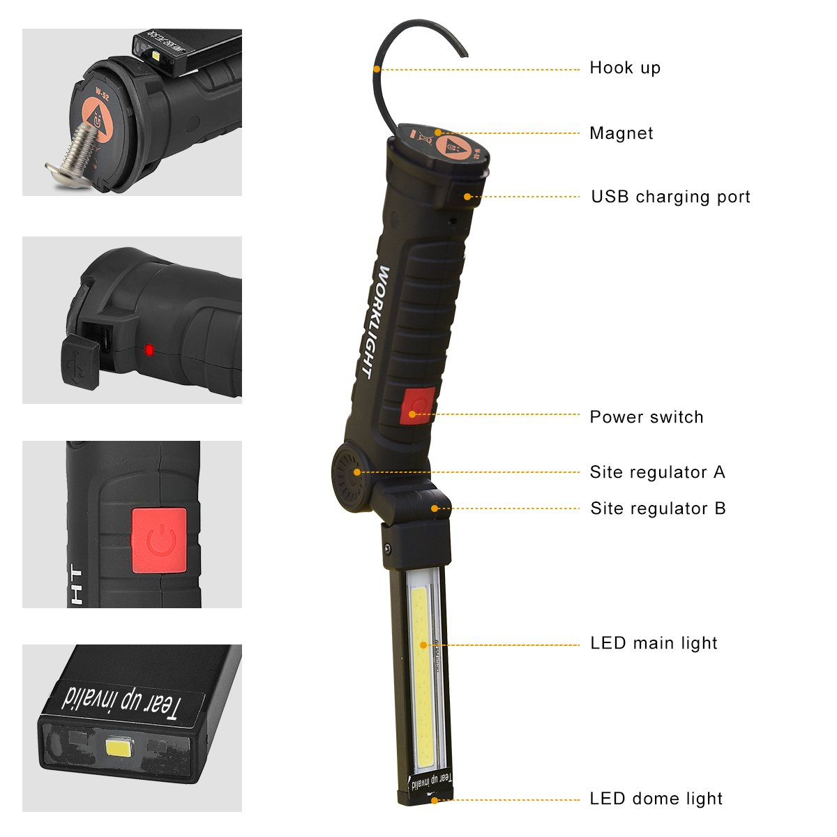 Artbest LED Arbeitsleuchte Arbeit Licht Taschenlampe Werkstattlampe Inspektionsleuchten Superhelle COB LED Camping Lantern Handlampe Campinglampe mit Magnet Clip USB-Ladekabel