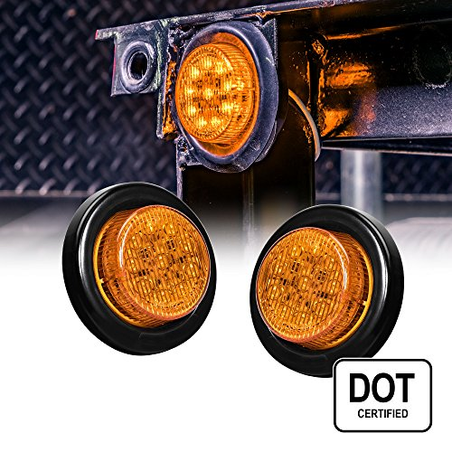 2PC 2 Round 10 LED Light [2 in 1 Reflector] [Polycarbonate Reflector] [10 LEDs] [D.O.T. Certified] [2 Year Warranty] Side Marker Light for Trucks and Trailers - Amber
