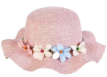 Kentop Enfant Fille d été Paille Chapeau de plage Chapeau Outdoor  Protection solaire Chapeau de 11701723d9d