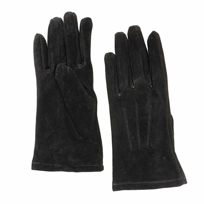 1e88e2b07 Womens Black Suede Leather Driving Gloves Fleece Lined X-Large at ...