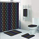Philip-home 5 Piece Banded Shower Curtain Set Seamless Animal Spectrum of paw Foot Pattern Printing Suit