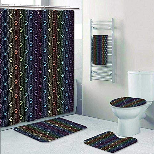 Philip-home 5 Piece Banded Shower Curtain Set Seamless Animal Spectrum of paw Foot Pattern Printing Suit by Philip-home