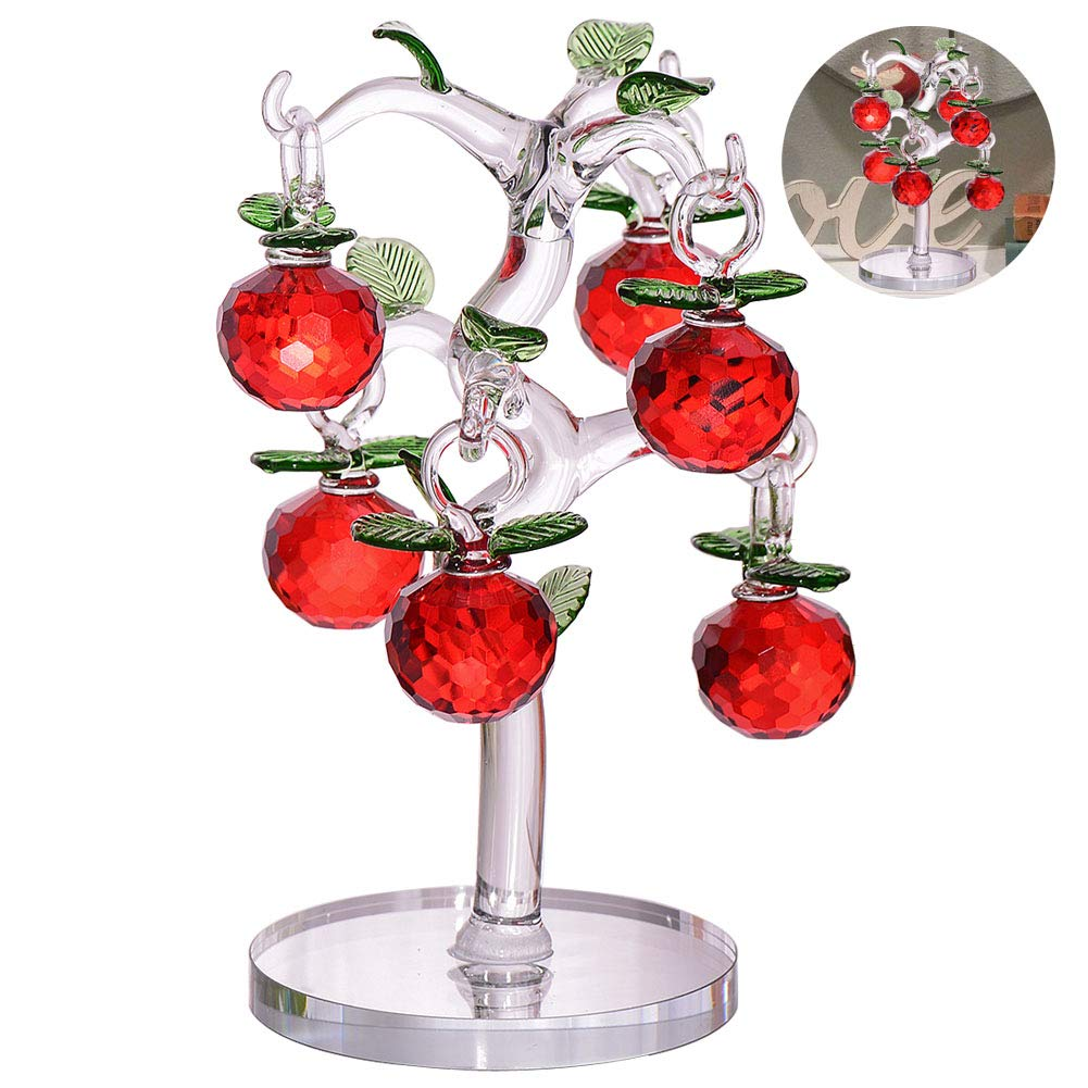 Crystal Apple Tree Decorative Artificial Tree Crystal Ornaments for Home Living Room Office Bar Desk Party Wedding Decoration Birthday Festival Red