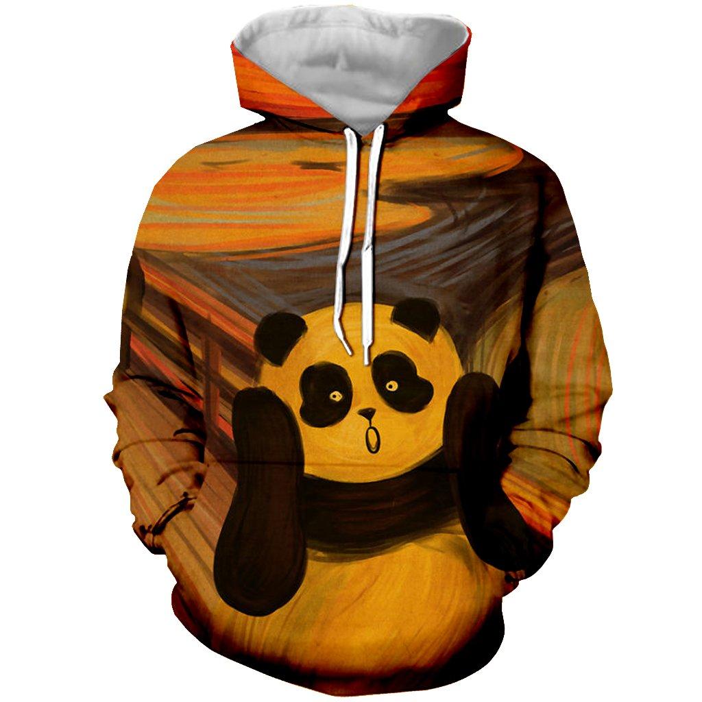 YX GIRL Unisex 3D Printed Surprise Panda Hoodies Funny Hooded Sweatshirt Pockets (L, Panda Hoodies 04)