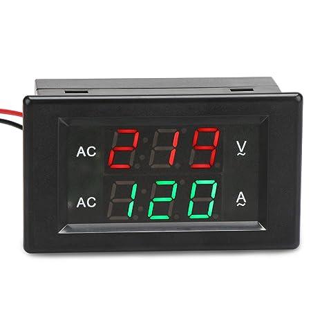 DROK 0.39 Inches LED 2in1 Multimeter AC 500V 200A Voltmeter Ammeter, Ac Amp Gauge Wiring on