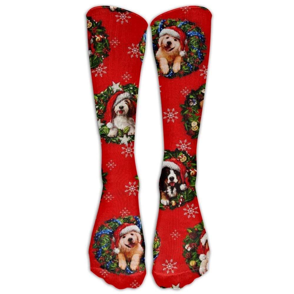 Christmas Pets Dogs Holiday Knee High Graduated Compression Socks For Women And Men - Best Medical, Nursing, Travel & Flight Socks - Running & Fitness Santa&gifts