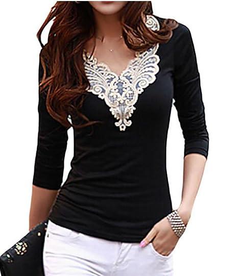 f28d032a36e7d Papijam Womens Lace Splice Long Sleeve V-neck T Shirt Tops Tees at ...