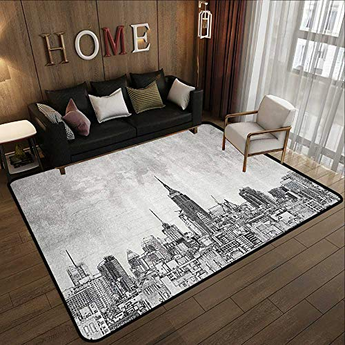 All Weather mats,Apartment Decor Collection,Cosmopolitan New York City Skyline with Iconic Skyscrapers and High Buildings Artsy Design,Gr 78.7
