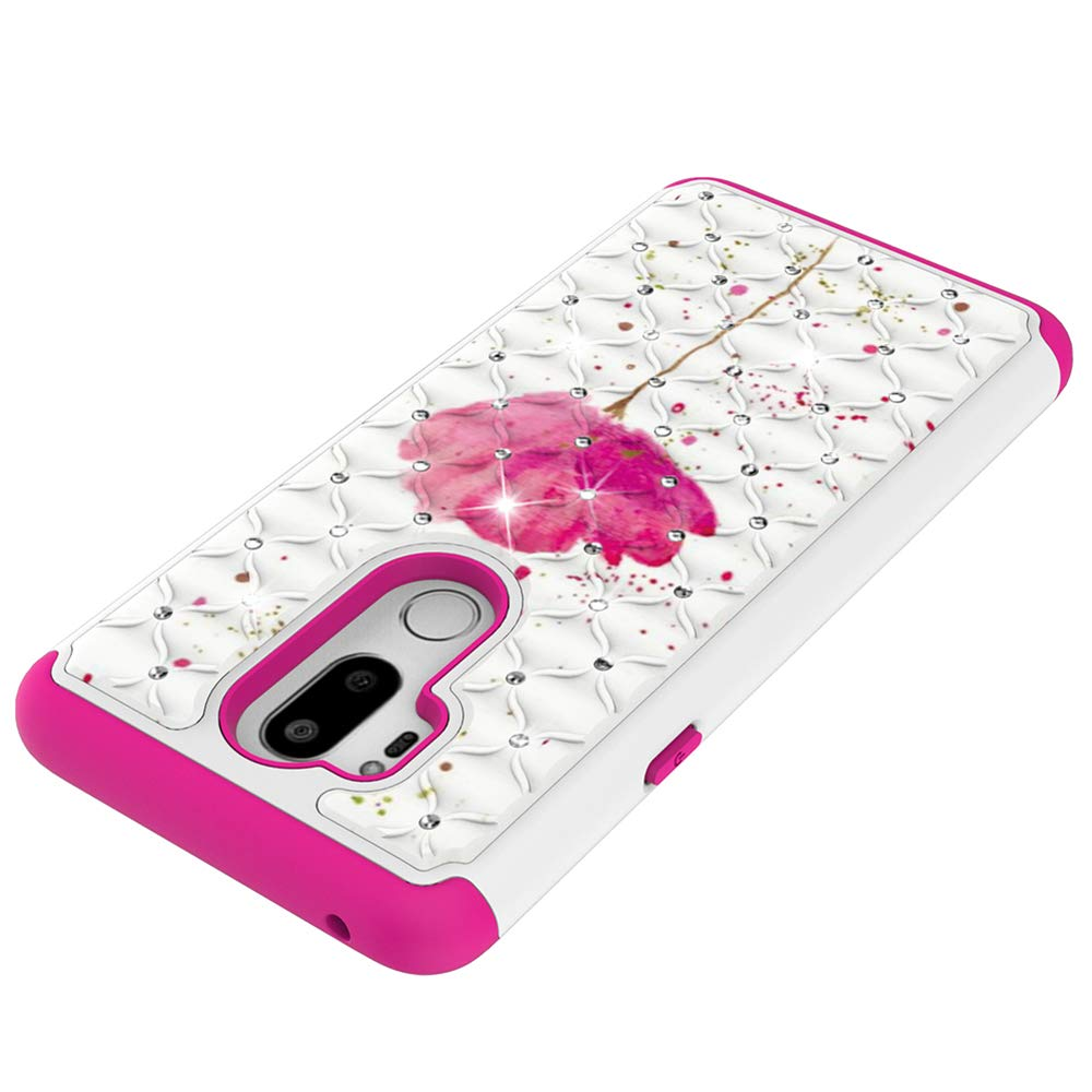Tznzxm for LG G7 LG G7 ThinQ Case Fashion 2 in 1 Dual Layer Easy Grip Anti-Scratch Hard PC Silicone Bumper Shock Absorption Bling Diamond Sparkly Defender Protective Case for LG G7 2018 Butterfly