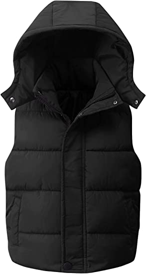 Happy Cherry Kids Padded Vest Winter Puffy Detachable Hooded Zipper up Sleeveless Jacket 5-12T