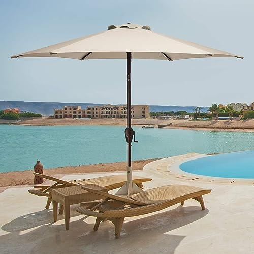 MUCHENGHY Patio Umbrellas UV Protection Rectangular Market Umbrella Wind Resistant