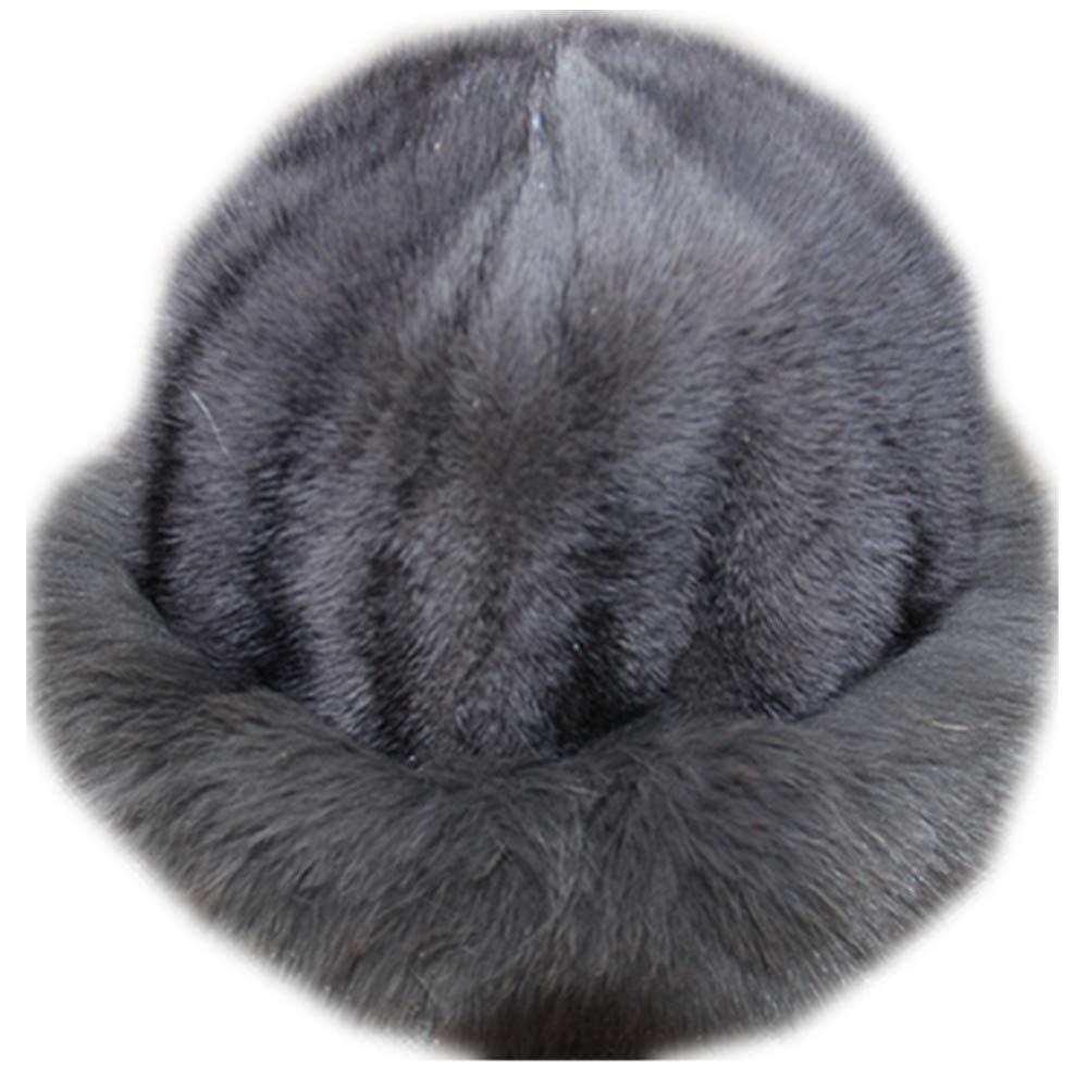 MH Bailment Womens Winter Hat with Fox Brim Real Fur Hats (M, Gray-1)