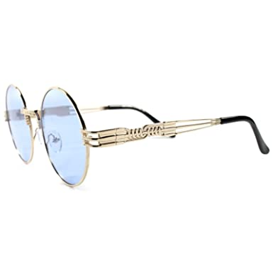 0fa1b1da68ac Image Unavailable. Image not available for. Color  Vintage Retro 80s Style  Hip Hop Mens Womens Round Gold Blue Lens Sunglasses