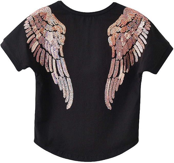 Camiseta con Bordado De Lentejuelas con Alas De ángel Niños Adultos Algodón Suelto Ropa para Camisa De Manga Corta: Amazon.es: Ropa y accesorios