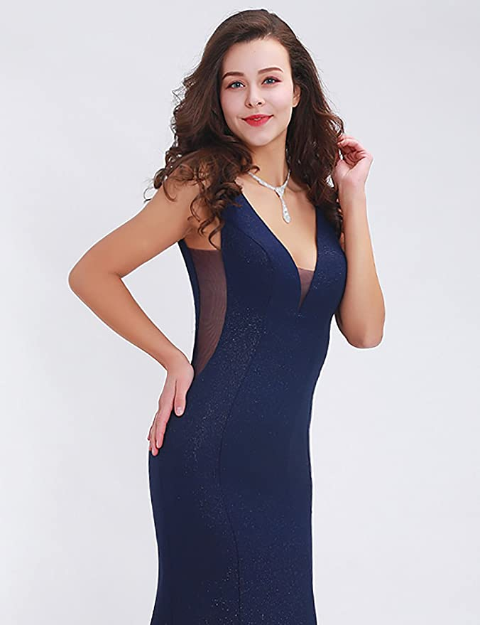 Greenspine Womens V Neck Mermaid Prom Dresses Backless Zipper Bridesmaid Dresses Evening Gowns Size 22 Navy Blue: Amazon.co.uk: Clothing