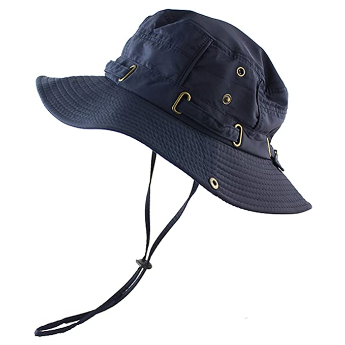 Amazon.com  Beach Cap Bucket Hat Boonie Hat Summer Protection ... 69582863a27