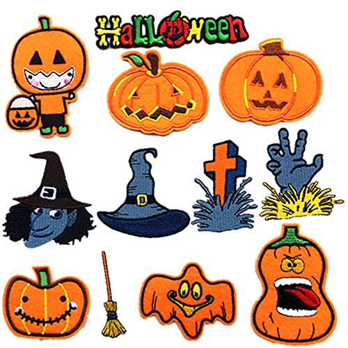 Dandan DIY 12pcs Halloween Pumpkin Wizard Broom Embroidered Patch Sew On/Iron On Patch Applique Clothes Dress Plant Hat Jeans Sewing Flowers Applique Diy Accessory (Halloween-Styles) -