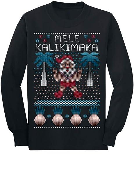 9bee6cb27 Amazon.com: Mele Kalikimaka Hawaiian Santa Ugly Christmas Toddler/Kids Long  Sleeve T-Shirt: Clothing