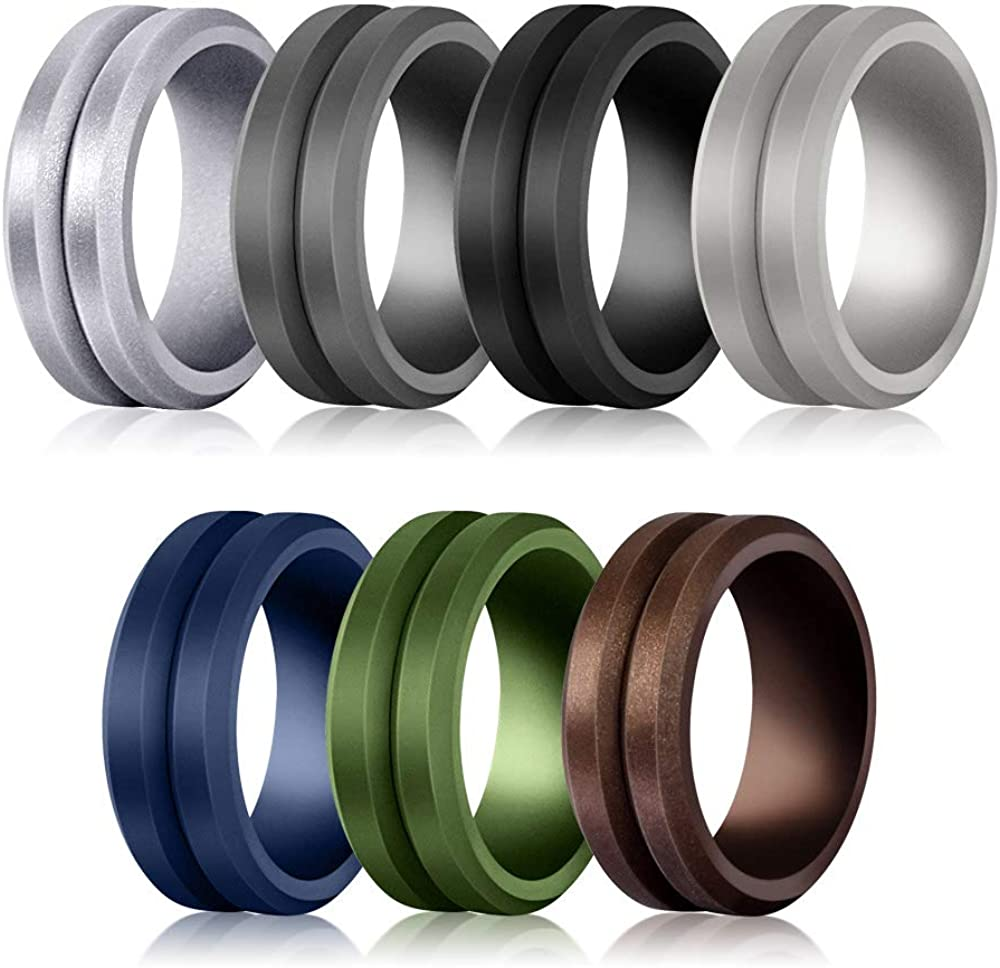 Glupez 8.7mm Silicone Wedding Ring for Men Rubber Wedding Band Size 7,8,9,10,11,12,13,14