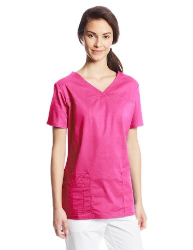 Cherokee Women's Workwear Core Stretch V-Neck Scrubs Shirt, Shocking Pink, XX-Large