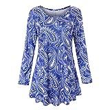 Realdo Womens Ethnic Character Dress, Ladies Long Sleeve Crewneck Floral Print Casual Dresses(Blue,Large)