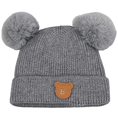 51168200a567a Gogokids Bebé Niños Niñas Sombreros Invierno Pelota de Felpa Gorras de  Pompón Crochet Punto