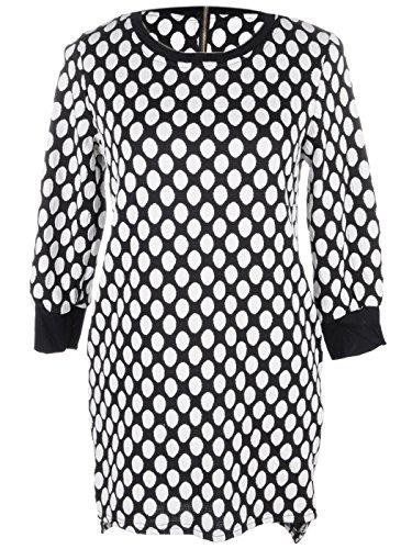 Anna-Kaci S / M Fit Schwarz Weiß Uniform Polka punktierte runder Ausschnitt Spalte Kleid Ik67OxRE
