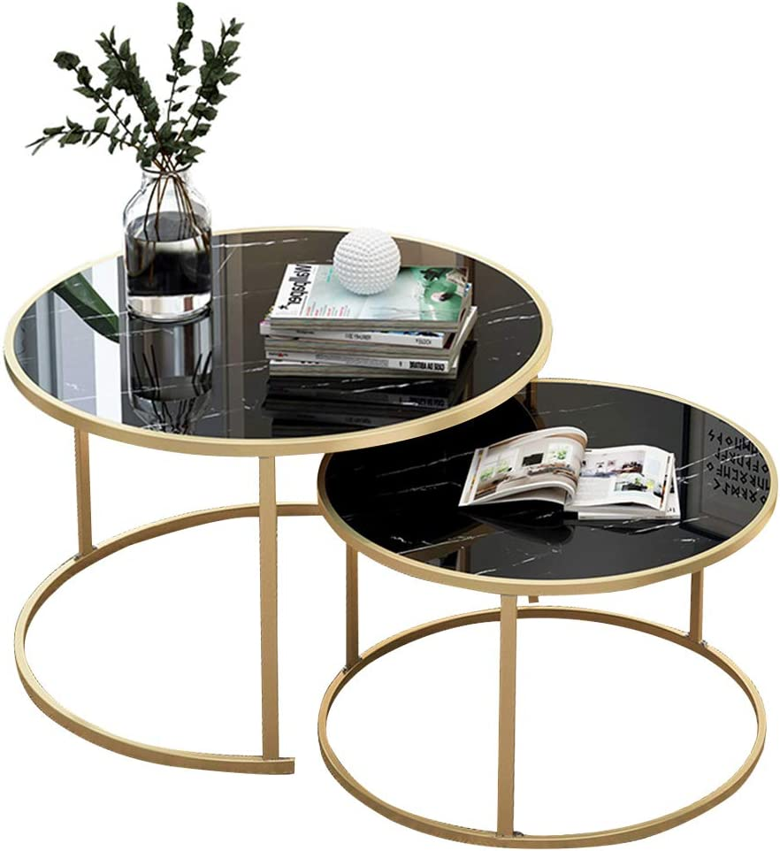 DecoInParis Table Basse en Verre Noir et m/étal THESSA