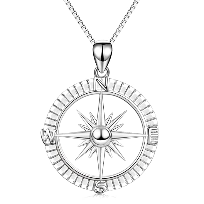 Amazon Com Angel Caller Sterling Silver Compass Pendant Necklace