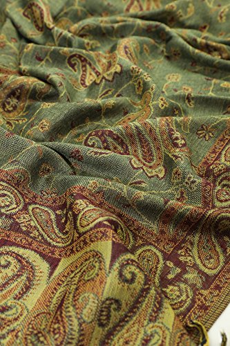 Achillea Soft Silky Reversible Paisley Pashmina Shawl Wrap Scarf w/Fringes 80'' x 28'' (Sage Green) by Achillea (Image #6)