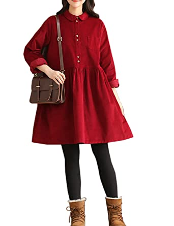 9e44462c2d Gihuo Women s Peter Pan Collar Long Sleeve Corduroy Shirt Mini Dress A-line  Flared Dress