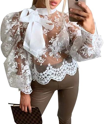 Tasty Life Camisa De Manga Larga De Encaje Transparente Superior Sexy para Mujer Camisa De Manga Larga De Encaje con Lazo Camisa De Manga Larga De Primavera Neta: Amazon.es: Ropa y accesorios