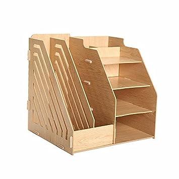 Hensych® desmontable Caja de almacenamiento de escritorio de madera DIY organizador estante suministros de oficina