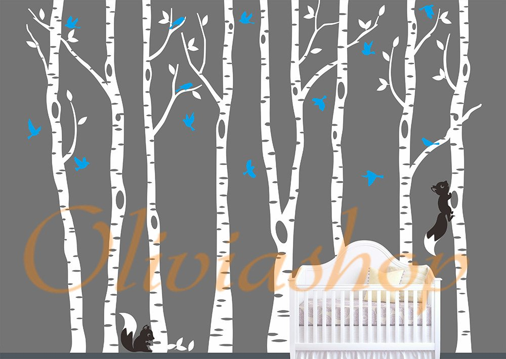 Amazoncom Vinyl Large White Birch Tree Wall Decal Nursery Birch - Vinyl wall decals birch tree