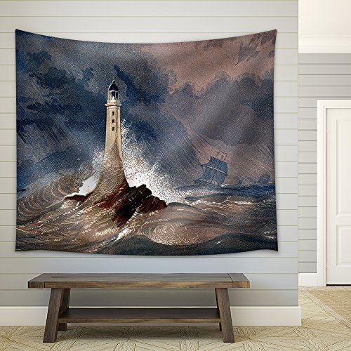 an Engraved Vintage Colour Illustration of Eddystone Lighthouse Fabric Wall