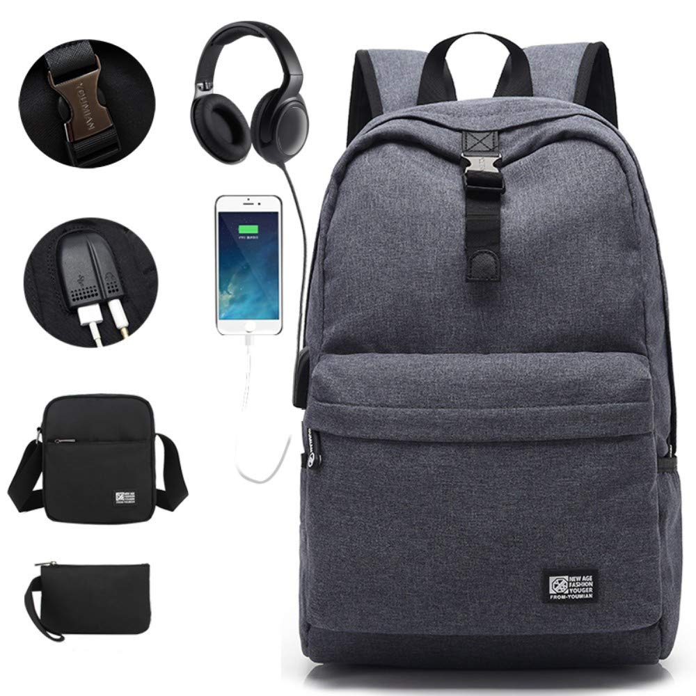 Dark Grey Socket HXG Laptop Backpack 14 Inch Waterproof Travel Bag Fashion Casual Merchant   Lightweight Men and Women Backpack Large Capacity Nylon with USB Charging Port