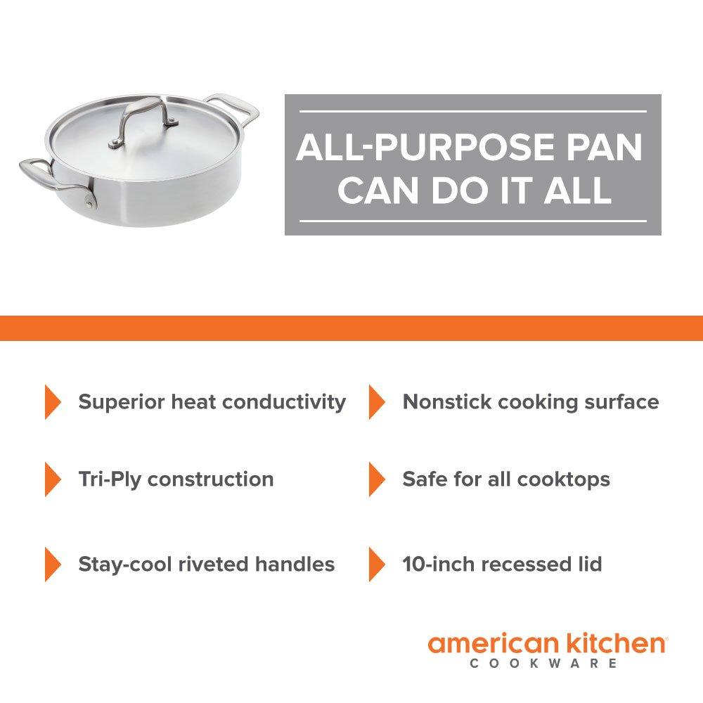 Amazon.com: Stainless Steel Pan - American Kitchen 10-Inch Premium ...