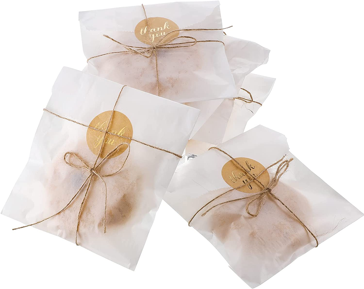 100 Pieces Glassine Wax Paper Bag Cookie Bags Gourmet Bags, 100 Pieces Thank You Label Stickers and 263 Feet Jute Rope for Party Favors, Candy Cookie Chocolate