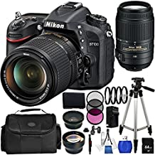 Nikon D7100 DSLR Camera - International Version (No Warranty) with 18-140mm VR & 55-300mm VR Lenses. Includes: Wide Angle & Telephoto Lenses, 3 Piece Filter Kit (UV-CPl-FLD), 64GB Memory Card, Extended Life Replacement Battery, Tripod, Deluxe Carrying Case & More!