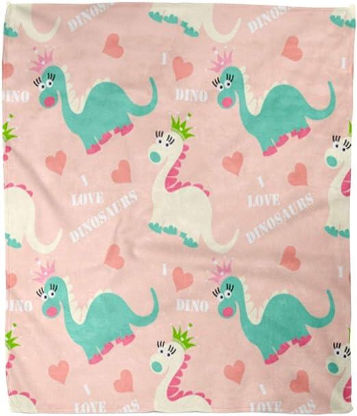 Super Soft Girls Dinosaur Throw Blanket 50x60 inches