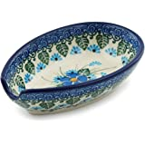 Polish Pottery Spoon Rest 5-inch Forget Me Not made by Ceramika Artystyczna