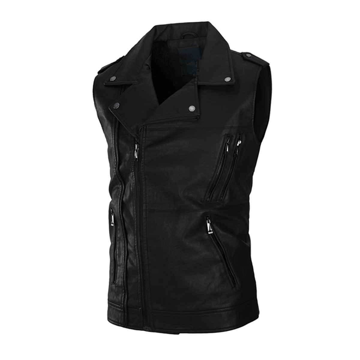 6aceee8e3 Guandoo Men's Zipper Sleeveless Biker Bomber Jacket Slim Fit Dress ...